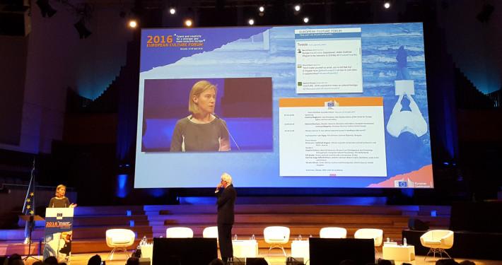 Federica Mogherini, EUs høyrepresentant for utenrikssaker holder innlegg på European Culture Forum 2016. Foto: Vest-Norges Brusselkontor.