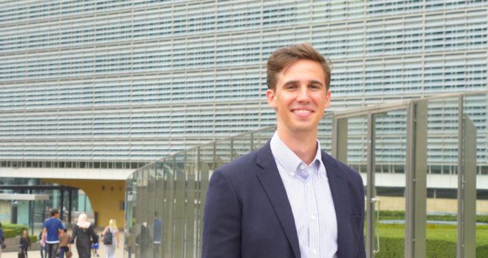 Studentpraktikant Kristian Torp. Foto: Vest-Norges Brusselkontor.